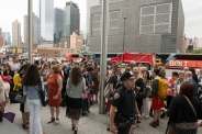 Crowd gathers at Javits Convention Center